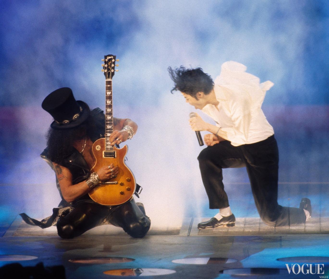 Майкл Джексон и Slash из Guns and Roses на церемонии MTV Video Music Awards 1995