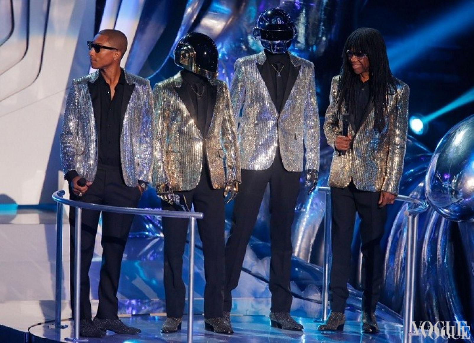 Фаррелл Уильямс, Daft Punk и Найл Роджерс в жакетах Saint Laurent, 2013