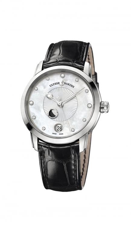 Часы Classico Lady Luna, сталь, бриллианты, ремешок из кожи аллигатора, Ulysse Nardin