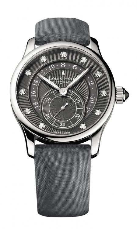 Часы из коллекции Emotion, сталь, бриллианты, сатиновый ремешок, Louis Erard