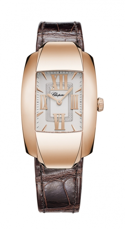 Часы из коллекции La Strada, розовое золото, ремешок из кожи аллигатора, Chopard