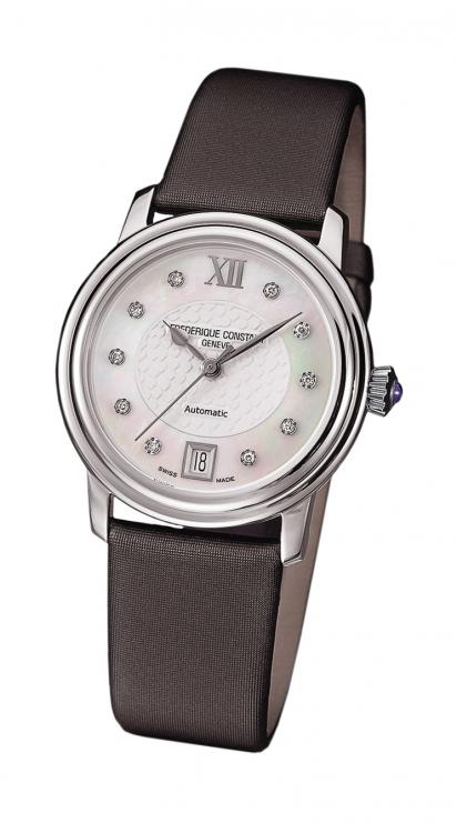 Часы Ladies Automatic, сталь, бриллианты, сатиновый ремешок, Frederique Constant