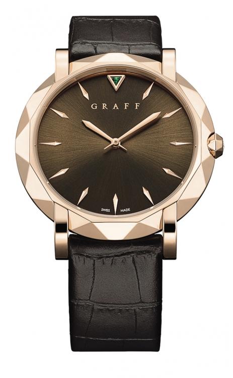 Часы из коллекции GraffStar UltraSlim 43 mm, розовое золото, изумруд, ремешок из кожи крокодила, Graff