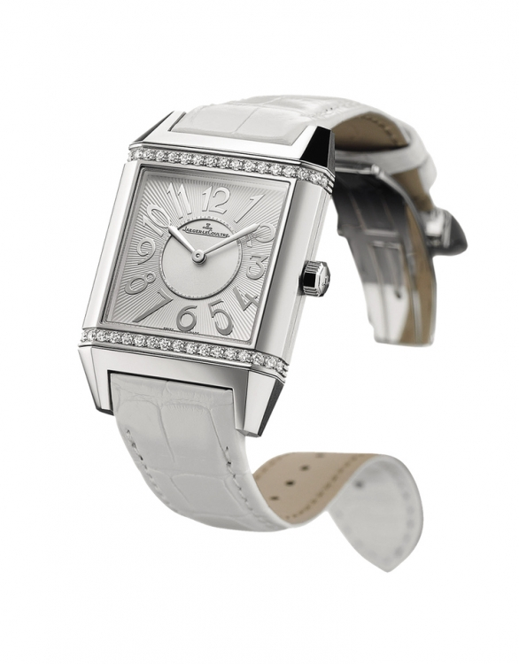 Часы Reverso Squadra Lady, сталь, бриллианты, ремешок из кожи аллигатора, Jaeger-LeCoultre