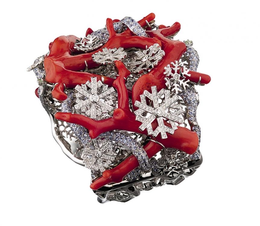 Браслет, белое золото, бриллианты, кораллы, Lydia Courteille