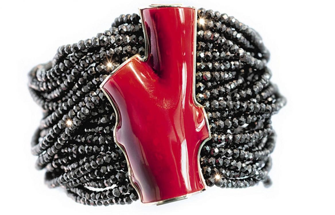Браслет, розовое золото, кораллы, черная шпинель, Beatrice Rossi