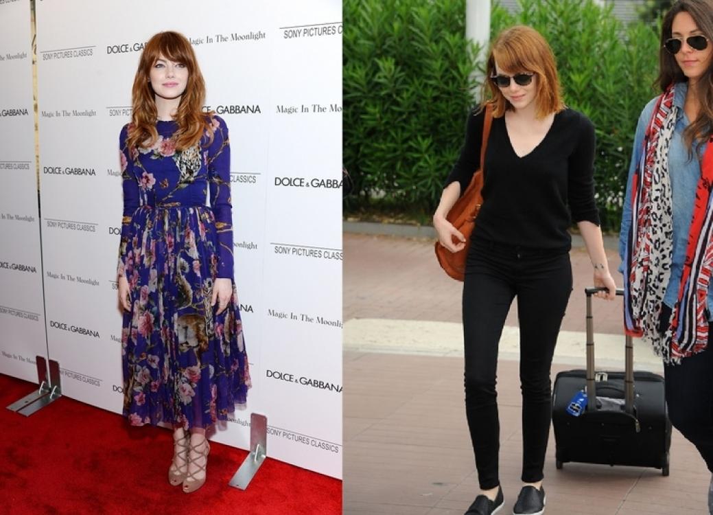Эмма Стоун в июле 2014 (слева) и августе 2014