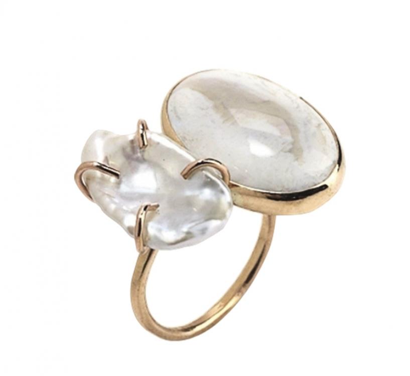 Кольцо, розовое золото, жемчуг, опал, Melissa Joy Manning