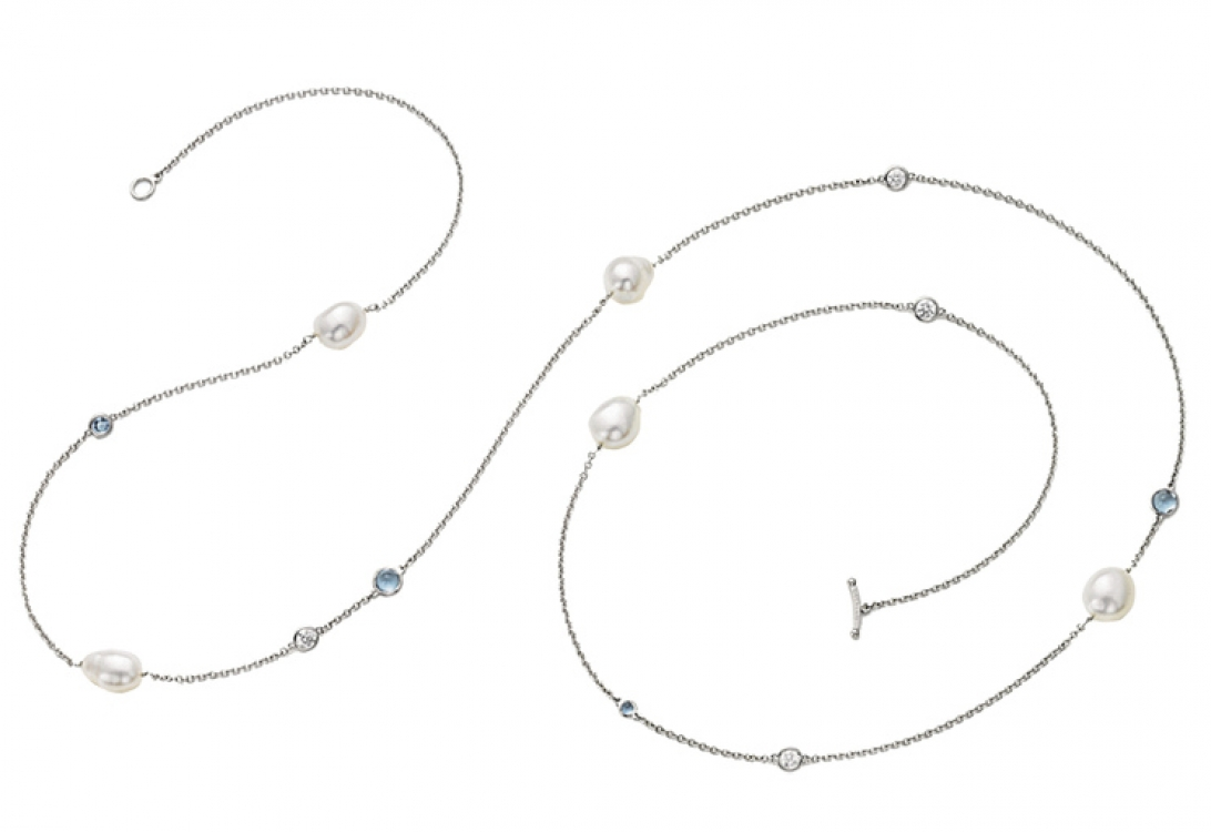 Браслет Elsa Peretti Diamonds by the Yard, платина, бриллианты, жемчуг, Tiffany & Co.