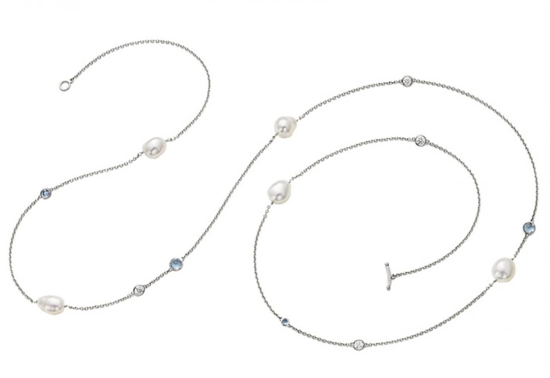 Браслет Elsa Peretti Diamonds by the Yard, платина, бриллианты, жемчуг, Tiffany & Co.