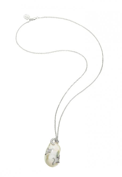 Колье, коллекция Boutique Astrea, белое золото, бриллианты, барочный жемчуг, Mimi