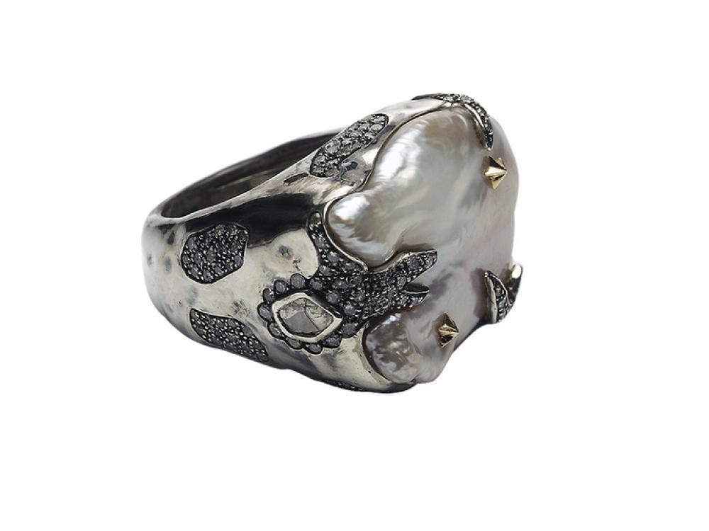 Кольцо, серебро, бриллианты, жемчуг, Bibi van der Velden