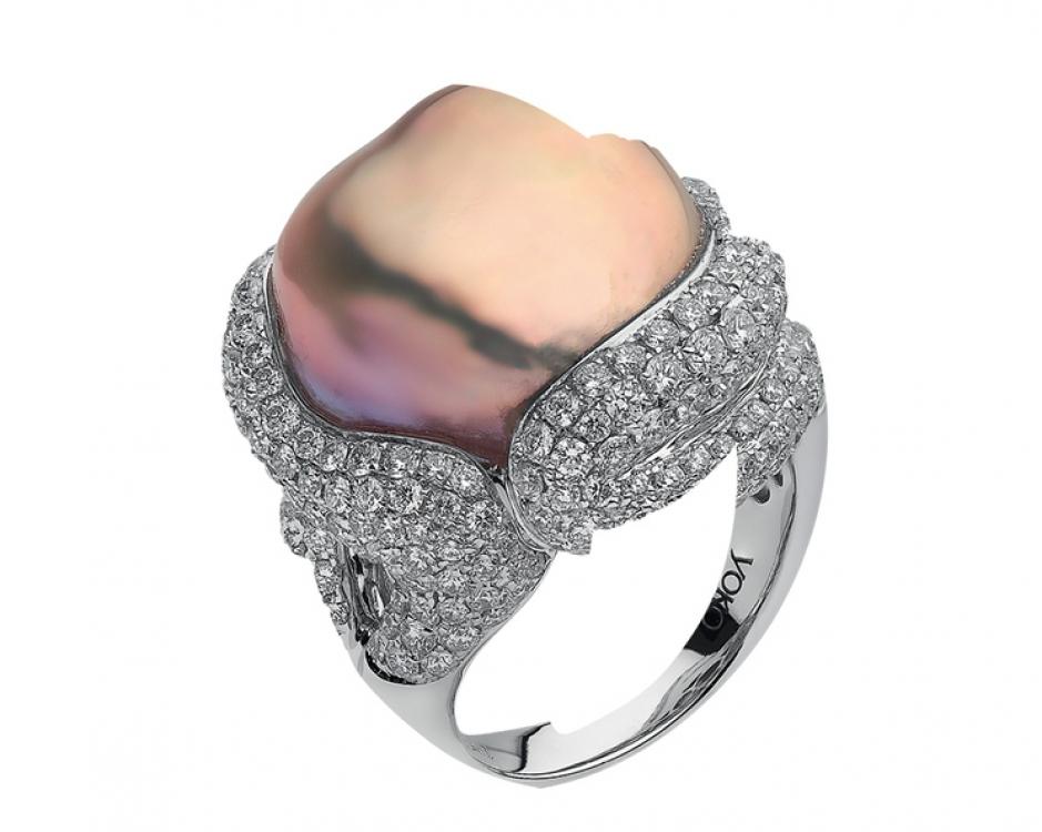 Кольцо Baroque, белое золото, бриллианты, жемчуг, Yoko London