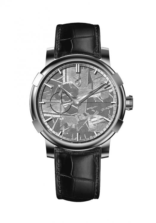 Часы 1969 Heavy Metal Meteorite, корпус из стали, циферблат из фрагмента метеорита, медальон из сплава серебра и лунной пыли на задней крышке, ремешок из кожи аллигатора, Romain Jerome