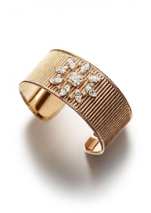 Браслет из 18-каратного розового золота, украшенный 8 бриллиантами огранки «маркиза», 1 бриллиантом огранки «подушка» (ок. 3,03 кт) и 8 бриллиантами круглой огранки