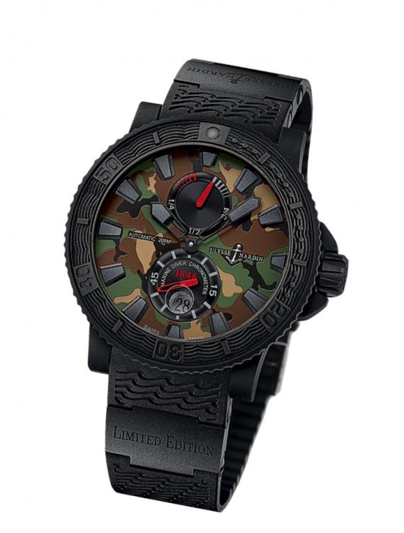 Часы Marine Diver Black Sea Military, сталь с каучуковым покрытием, каучуковый ремешок, Ulysse Nardin