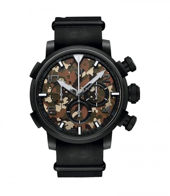 Часы Pin-Up DNA, черная сталь с частичками военного самолета Pink Lady, кожаный ремешок, Romain Jerome