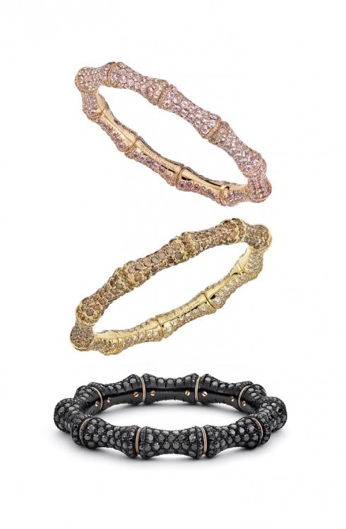 Браслеты Bamboo: розовое золото и лавандовые сапфиры, желтое золото и коричневые бриллианты; розовое золото, искусственный корунд и черная шпинель, все – Gucci