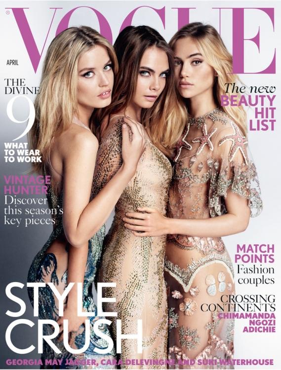 Британский Vogue, апрель 2015. С моделями Карой Делевинь и Сьюки Уотерхаус. Фотограф: Марио Тестино