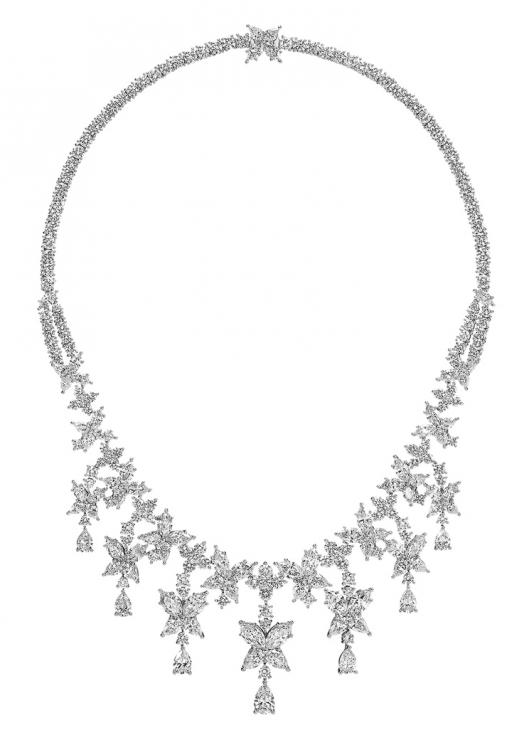 Колье, платина, белые бриллианты, Harry Winston