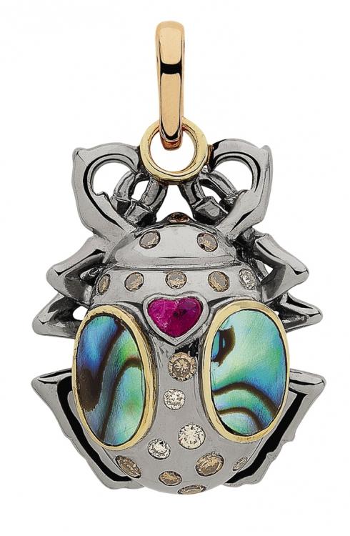 Подвеска Mimi Lulu из коллекции Jardin, серебро, золото, бриллианты, рубин, перламутр, Sylvie Corbelin