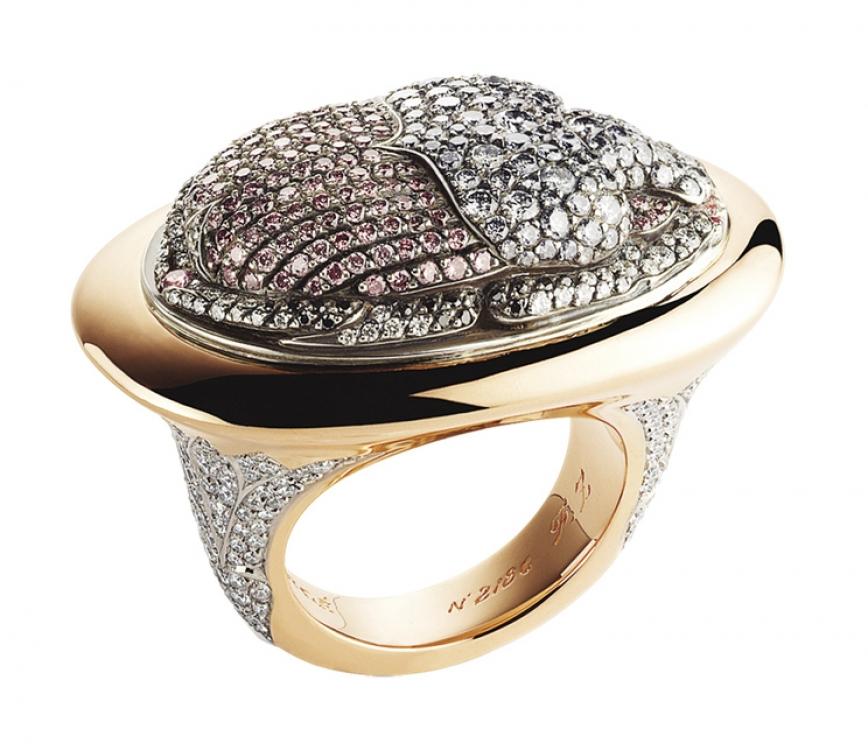 Кольцо Diamond Scarab, серебро, розовое золото, белые, розовые, серо-голубые и черные бриллианты, Faberg?