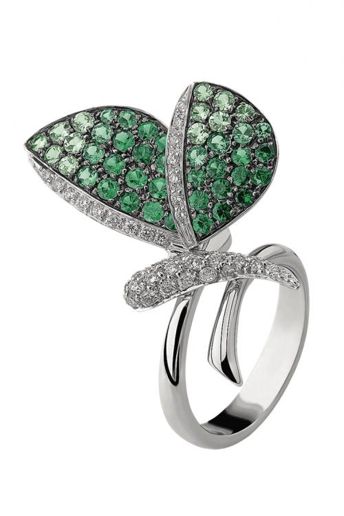 Кольцо Butterflies, белое золото, бриллианты, цавориты, Ambrosi