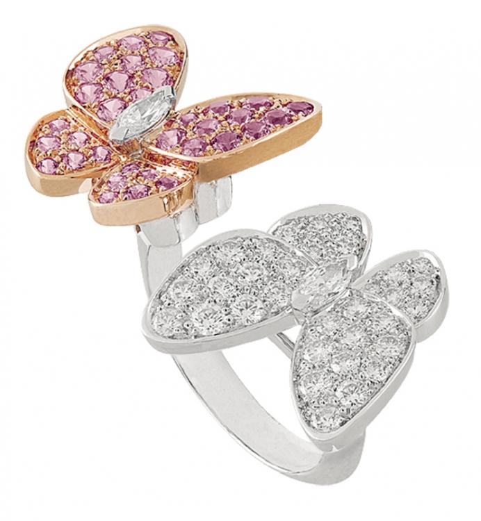 Кольцо Two Butterfly, белое и розовое золото, бриллианты, розовые сапфиры, Van Cleef & Arpels
