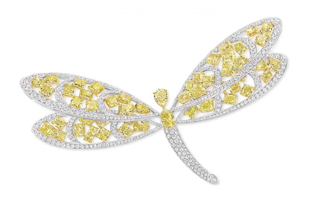 Брошь, белое золото, белые и желтые бриллианты, Graff