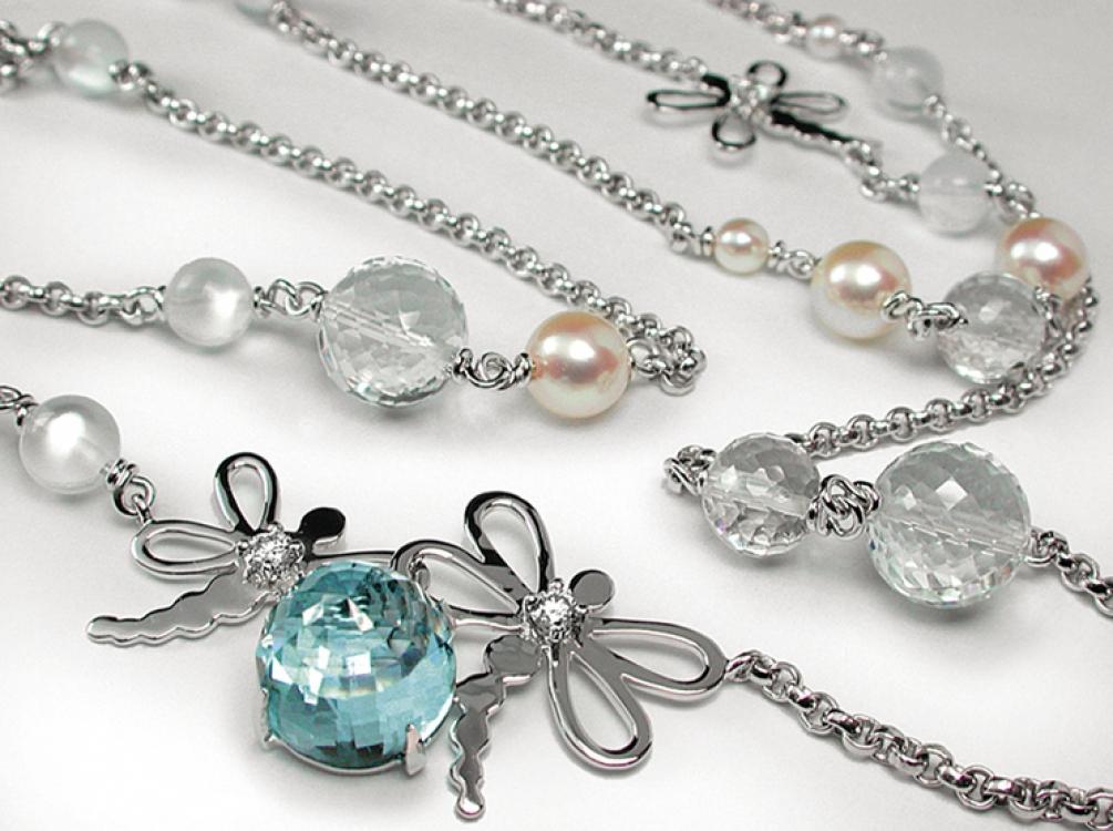 Колье Demoiselle, белое золото и бриллианты, жемчуг, аквамарин, Mathon Paris
