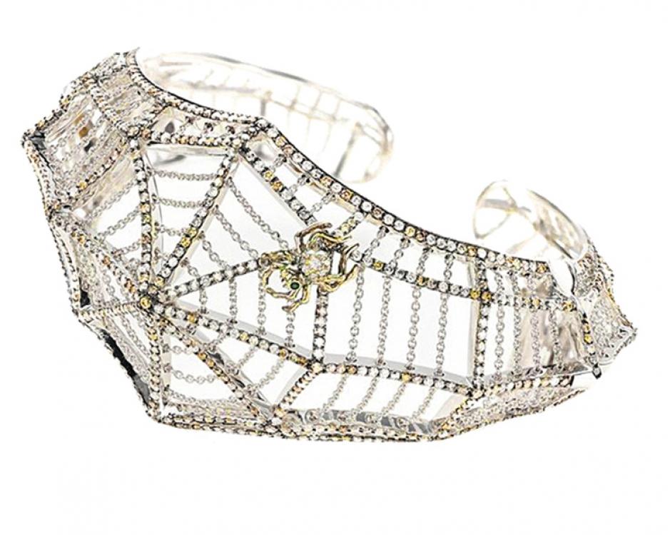 Браслет Cobweb, коллекция Midsummer Night's Dream, белое золото, коричневые и белые бриллианты, Bibi van der Velden для Vieri