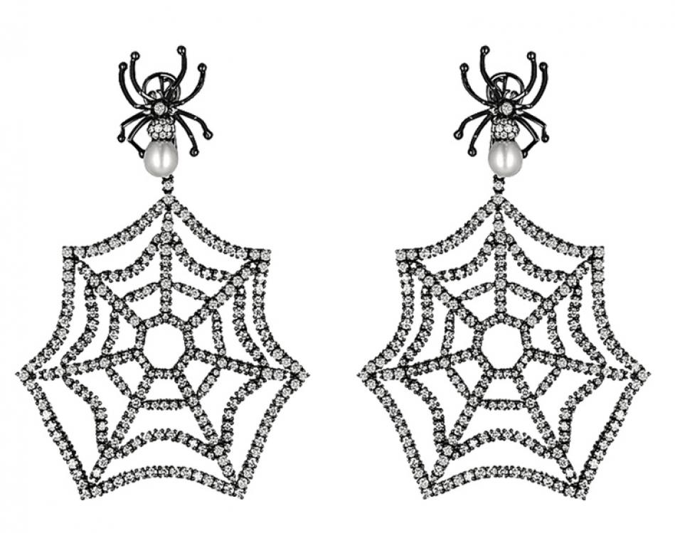 Серьги Jacob's Web, черненое золото, бриллианты, барочный жемчуг, Jacob & Co.