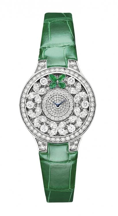 Часы Butterfly Emerald, корпус из белого золота, бриллианты, изумруды, ремешок из кожи крокодила, Graff