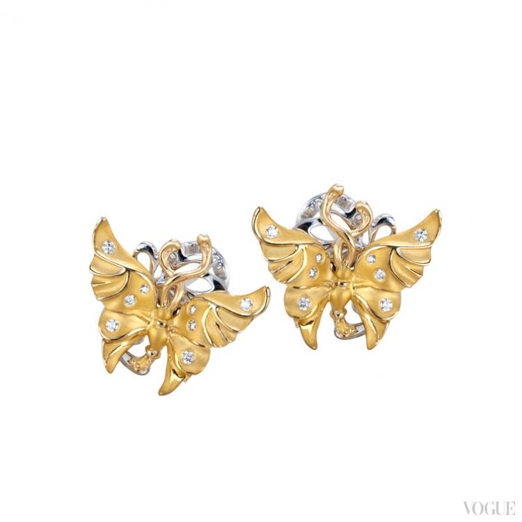 Серьги из желтого и белого золота с бриллиантами
