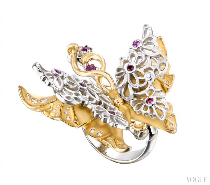 Кольцо Maxi из желтого и белого золота с бриллиантами и сапфирами