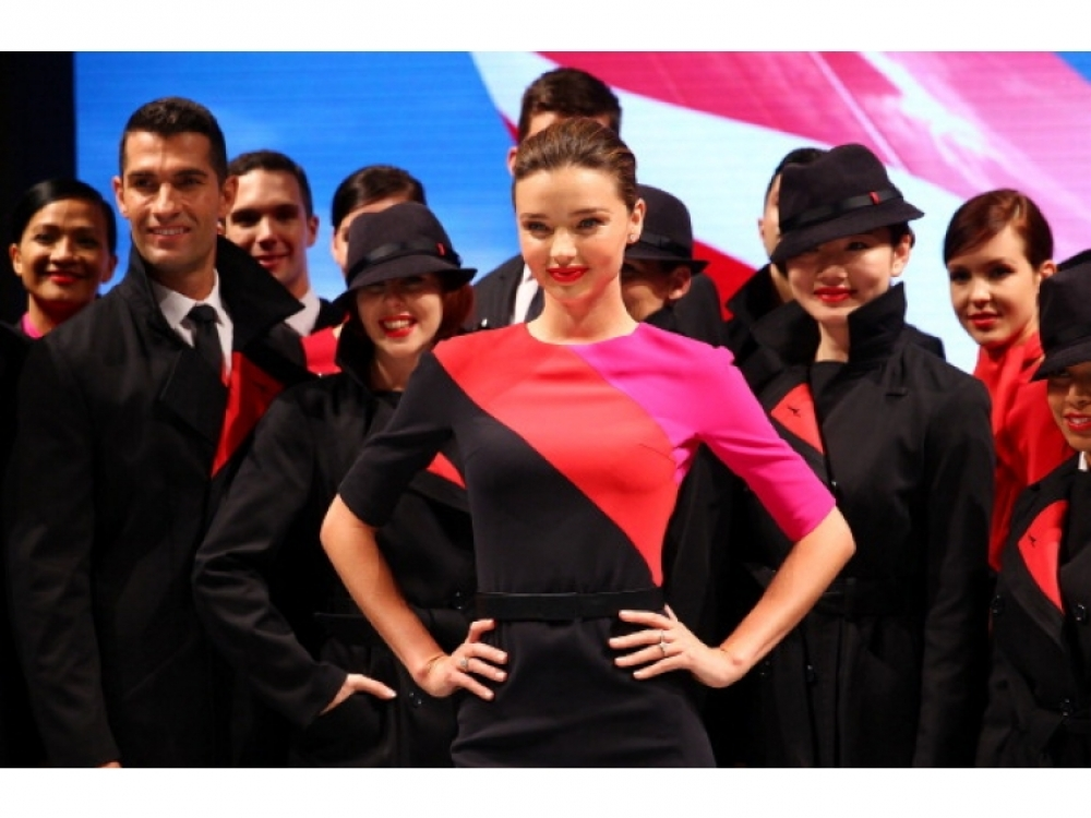 Миранда Керр и экипаж авиакомпании Qantas
