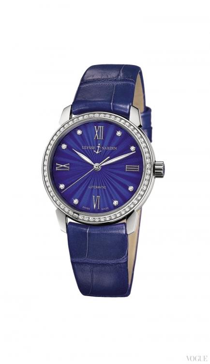 Часы Classico Lady, корпус из стали с бриллиантами, синий эмалевый циферблат, ремешок из кожи аллигатора, Ulysse Nardin