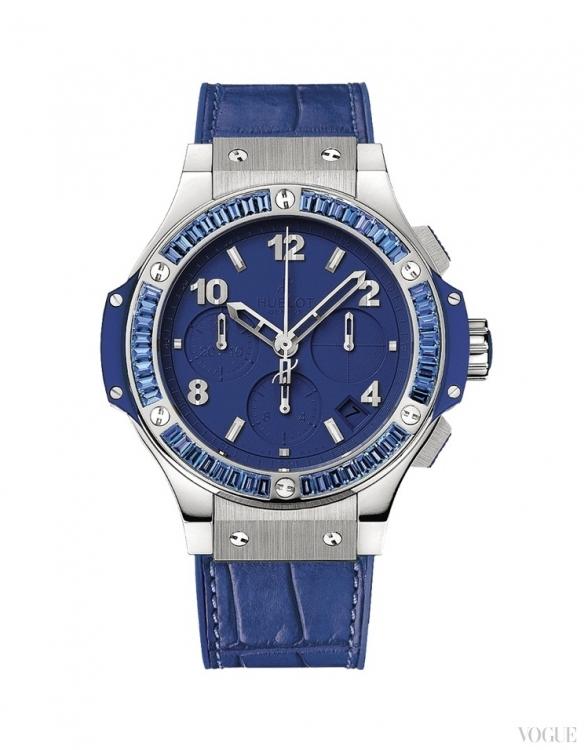 Часы Big Bang Steel Tutti Frutti Dark Blue Carat, корпус из стали, ремешок из кожи аллигатора на каучуковой подкладке, Hublot