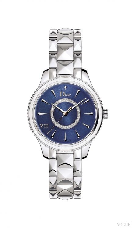 Часы Dior VIII Montaigne, корпус из стали, безель с перламутром, синий лаковый циферблат с бриллиантами, стальной браслет, Dior