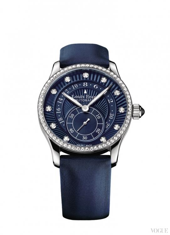 Часы Emotion, корпус из стали с бриллиантами, сатиновый ремешок, Louis Erard