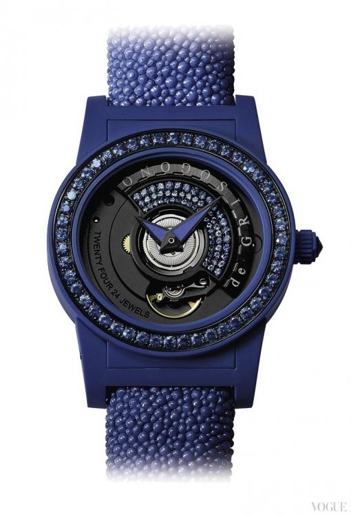 Часы Tondo by Night, корпус из композитного люминесцентного стекловолокна, безель из стали с черным PVD-покрытием, 108 синих сапфиров, черный бриллиант на заводной головке, ремешок из кожи ската, de Grisogono