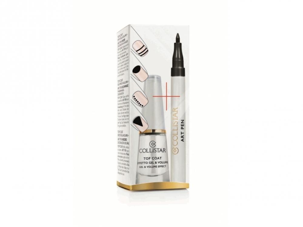 Специальное покрытие для ногтей Top Coat и маркер Art Pen для рисунков на ногтях в черном цвете