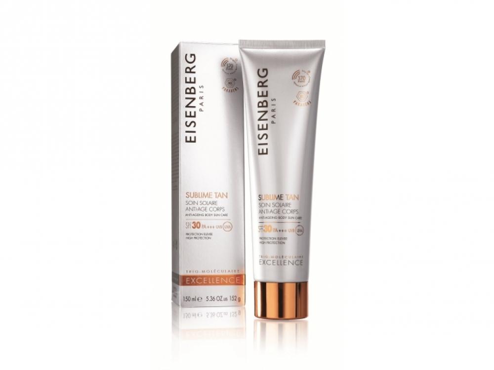 Легкий крем Sublime Tan Anti-Ageing Body Sun Care SPF 30, Eisenberg. Содержит увлажняющую гиалуроновую кислоту и антивозрастной комплекс. Подходит даже для чувствительной кожи
