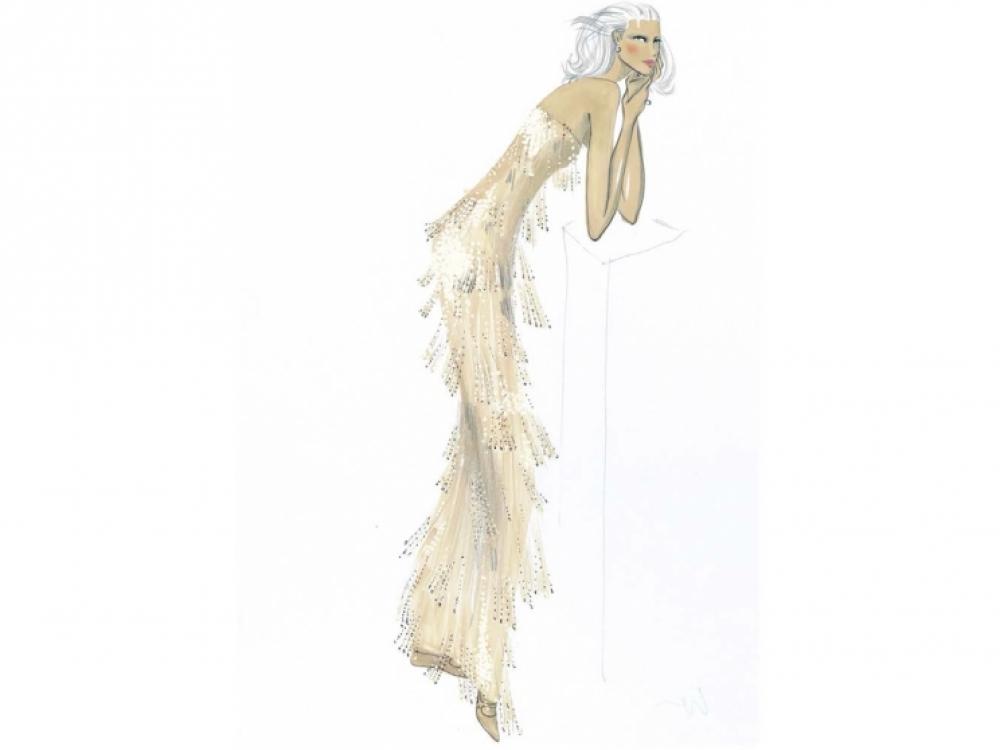 Эскиз платья Джорджио Армани для Кейт Бланшетт