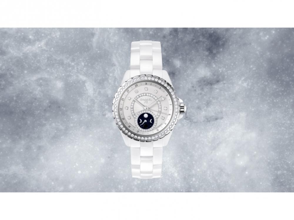 Часы J12 Moonphase из белой керамики с бриллиантами