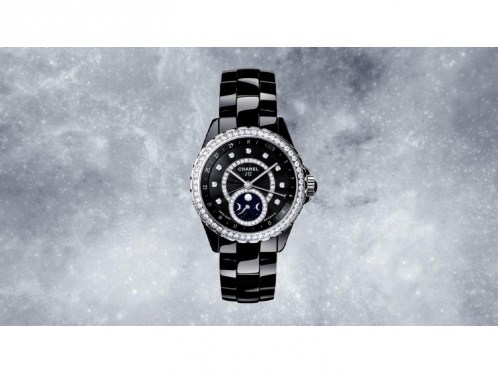 Часы J12 Moonphase из черной керамики с бриллиантами