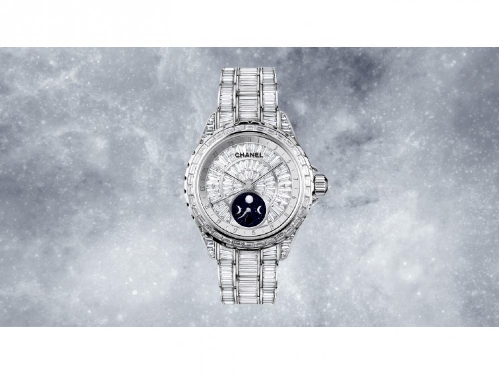 Часы J12 Moonphase HJ из 18-каратного белого золота, 696 бриллианта багетной огранки