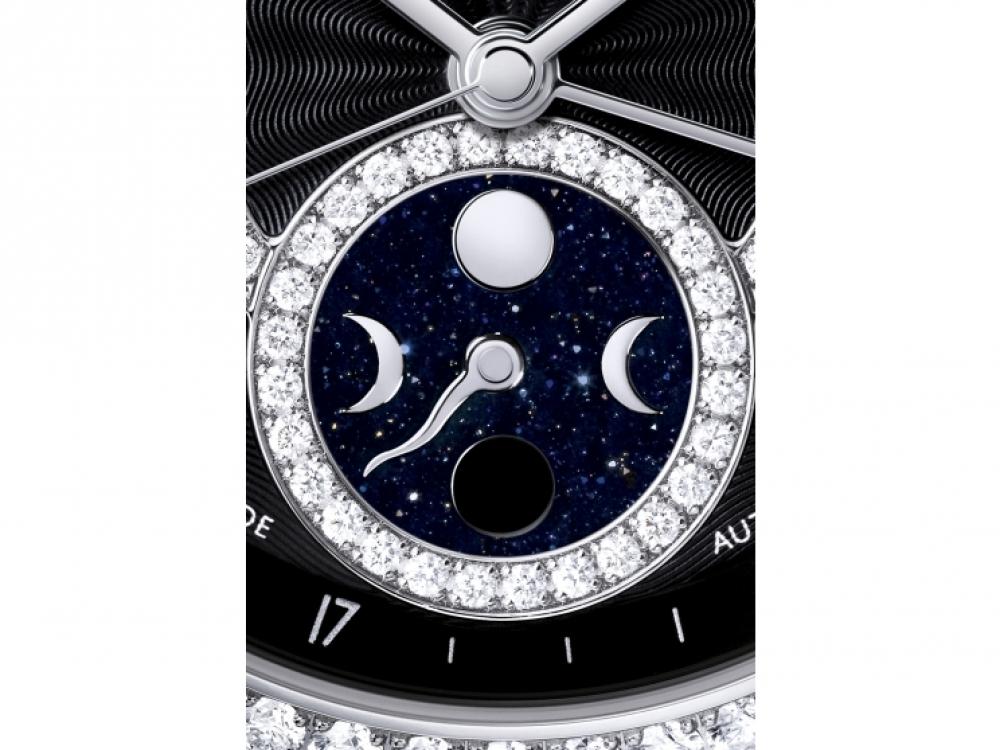Указатель фаз луны из авантюрина в круглой бриллиантовой огранке