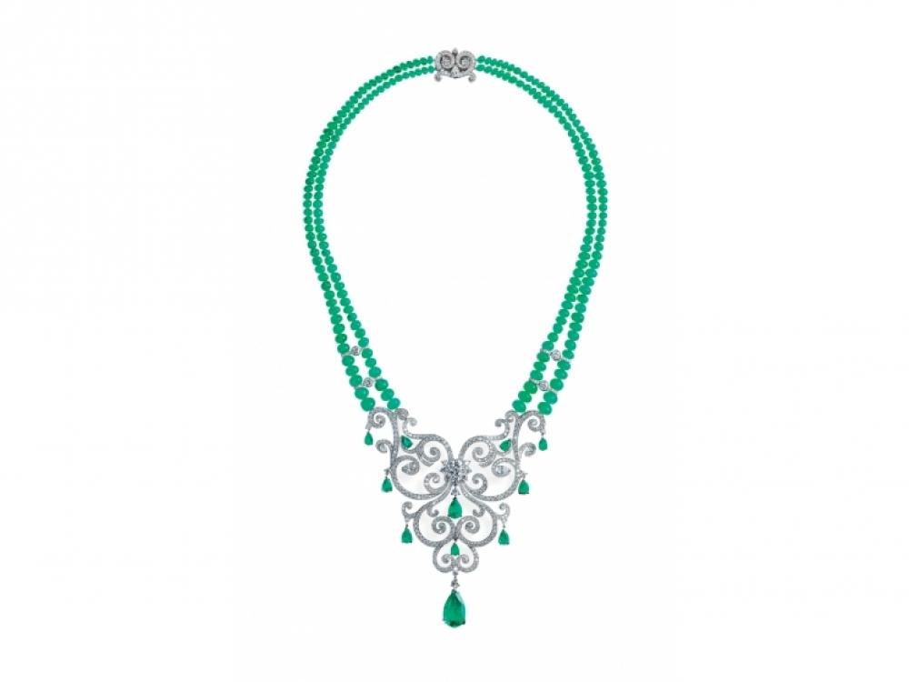 Ожерелье La Esmeralda, 18?каратное белое золото и бриллианты, изумруды, Faberg?