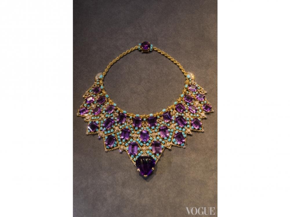 Ожерелье, 1947 год, 18-ти и 20-каратное золото, платина, алмазы, аметисты